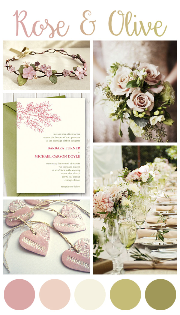 Rose and Olive green wedding inspiration board