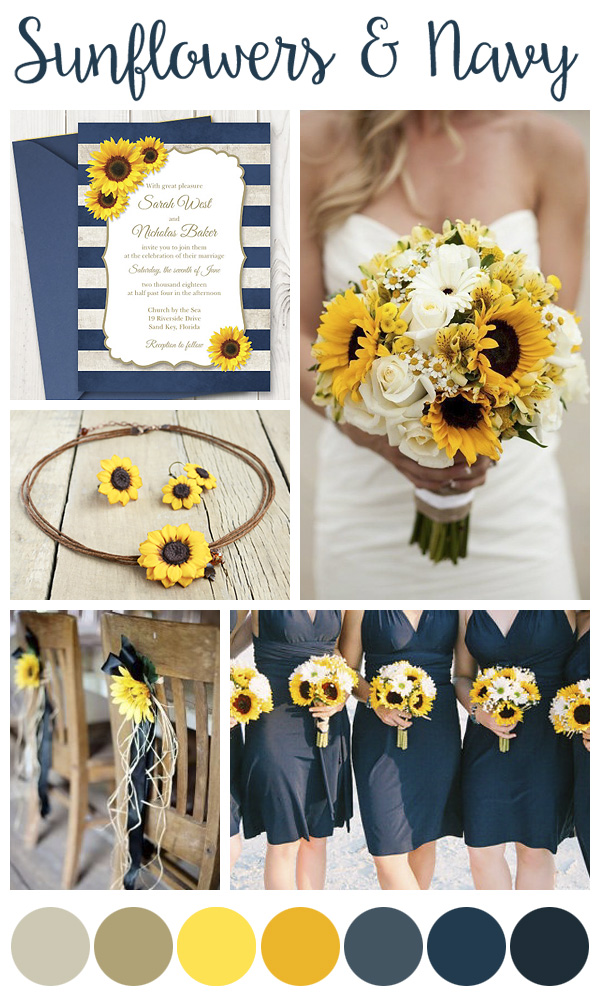 Sunflower & Navy Wedding