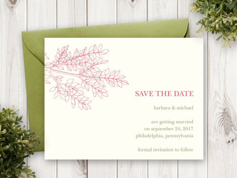 Leafy Branch Save the Date Card