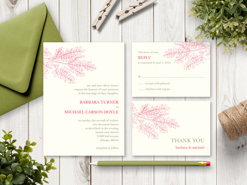 Lafy Branch Wedding Invitation Set