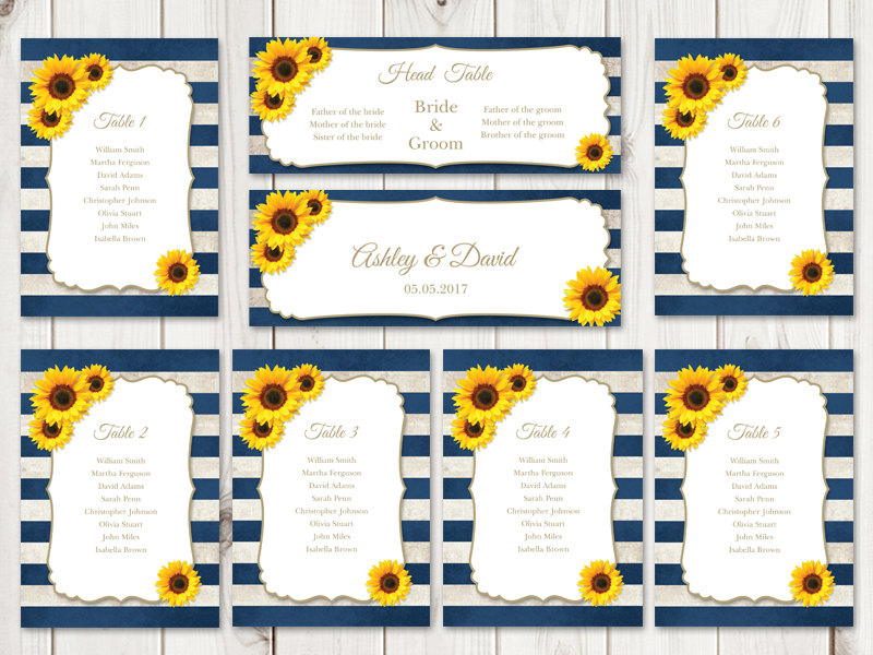Sunflower Wedding Seating Chart Template
