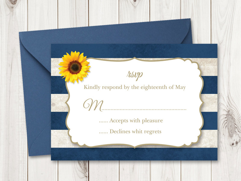 Sunflower Stripes RSVP Template