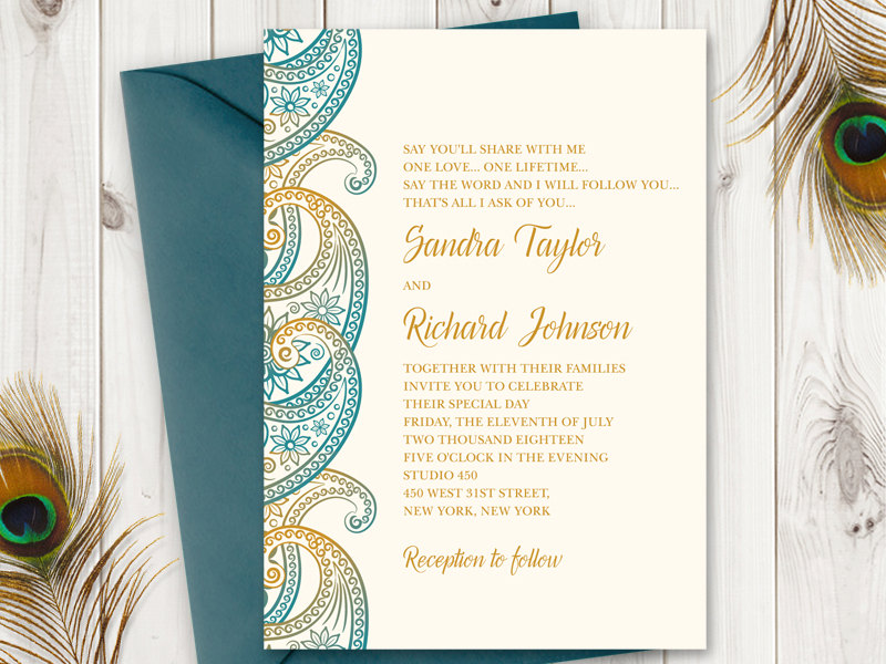 Paisley Wedding invitation Teal & Gold