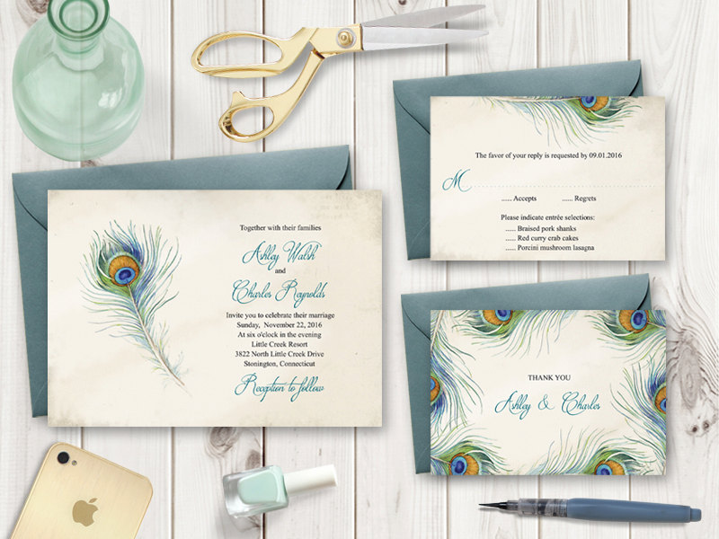 Peacock Feather Wedding invitation set