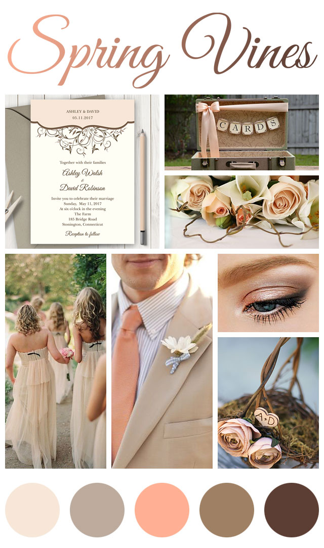 Peach wedding shishko templates and like the spring marriage is a new beginning celebrate spring and love with brown neutrals peach and cream colors junglespirit Images