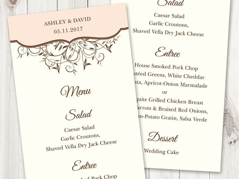 Spring Vines Peach Menu Printable Template