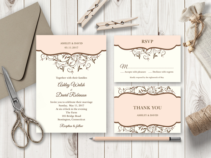 Spring Vines Peach Wedding Invitation Set