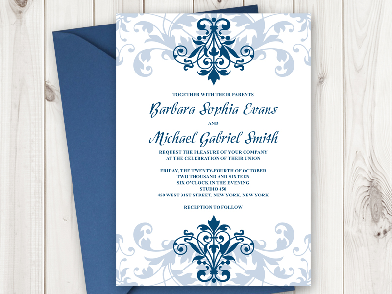 Invitation templates shishko templates the navy blue ornaments and font give a nice contrast to the white background color as will the navy blue suit next to the white wedding dress stopboris Gallery