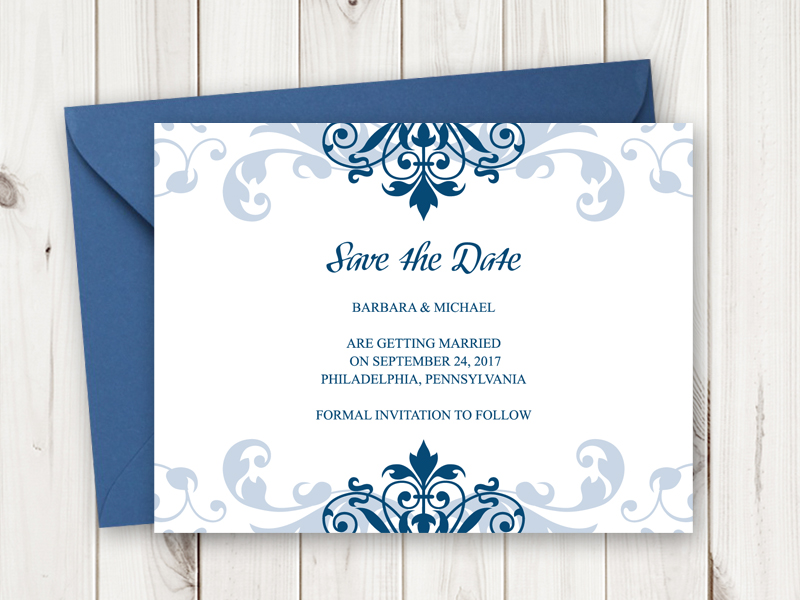The Navy Blue Ornaments And Font Give A Nice Contrast To White Background Color As Will Suit Next Wedding Dress