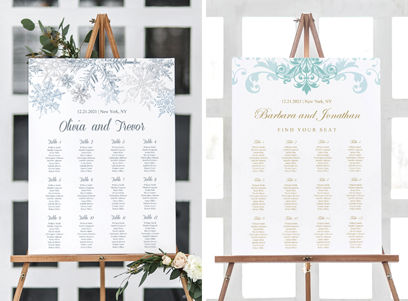 Large poster size wedding seating charts. DIY editable table arrangements for special events.