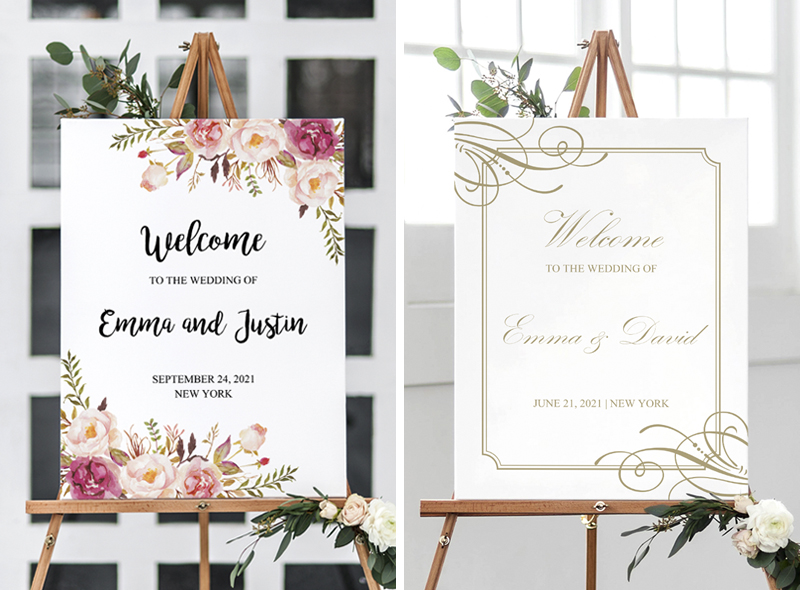 Large poster size wedding welcome signs, self-editing templates